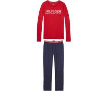 Pyjama 'set LS Logo' navy / rot / weiß