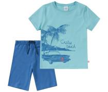 Schlafanzug für Jungen türkis / himmelblau