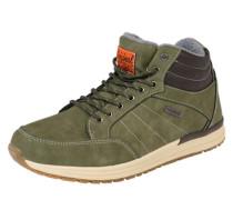 Sneaker High aus Kunstleder oliv