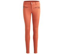 Skinny Fit Jeans mit Reißverschluss melone