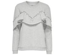 Rüschen-Sweatshirt graumeliert