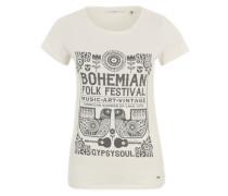 T-.Shirt mit Boho-Print weiß / schwarz