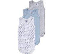 Bodys 3er-Pack für Jungen blau / graumeliert / rot / weiß