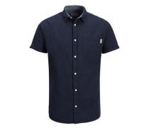 Lässiges Kurzarmhemd blau / schwarz