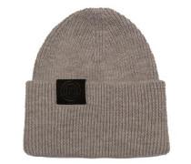 gestrickte Woll-Mütze grau