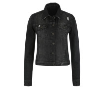 Jeansjacke mit Used-Effekten black denim