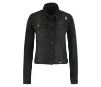 Jeansjacke mit Used-Effekten black denim