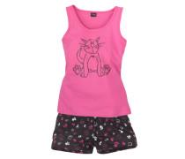 Tanktop und Shorts mit süßem Katzenprint pink