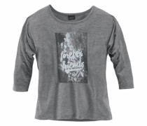 ¾ Arm Shirt mit Frontdruck grau