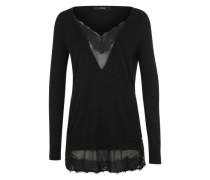Pullover mit Spitzeneinsatz schwarz