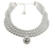 Perlenkette 'Choker Chiars' silbergrau