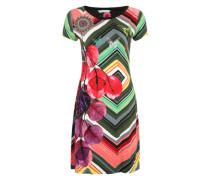 Kleid im Zick-Zack-Muster mit Stickereien schilf / mischfarben / pink