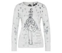 Pullover mit mädchenhaftem Print grau / hellgrau