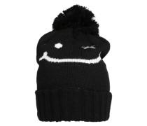 Bommel Mütze mit Smiley-Face schwarz