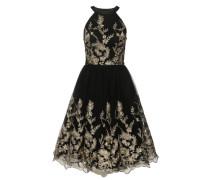 Abendkleid mit Stickerei gold / schwarz