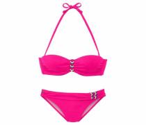 Bügel-Bandeau-Bikini mit buntem Flechtdetail pink