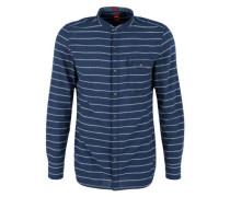 Slim: Streifenhemd mit Stehkragen blau