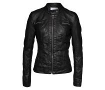 Jacke in Leder-Optik 'Bandit' schwarz / silber