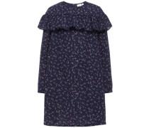 Kleid Volant nachtblau / lila