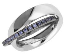 Damen 2 teiliger Fingerring 925 Silber Silber/Blau Pellet Heart Esrg91774A