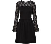 Spitzen Kleid mit langen Ärmeln schwarz