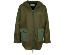 Jacke aus gefilztem Wollmix grün