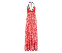 Kleid mit Häkel-Details mischfarben / rot