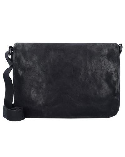 Umhängetasche Leder 33 cm schwarz