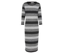 Gestreiftes Kleid grau / schwarz