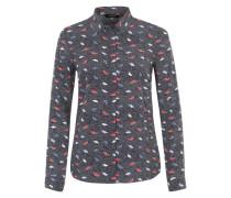 Bluse mit Print dunkelblau / rot / weiß