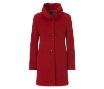 Mantel aus Wollstoff mit Stehkragen rot