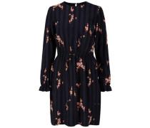 Gestreiftes Blumen-Kleid marine / schwarz