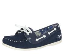 Bootsschuh aus Glatt- und Rauleder blau