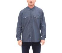Regular: Hemd mit Musterstruktur blau / weiß
