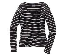 Langarmshirt geringelt eng anliegend für Mädchen schwarz / weiß