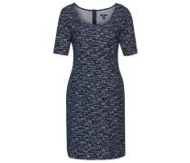 Elegantes Bouclé-Kleid dunkelblau / weiß