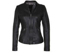 Lederjacke mit Stehkragen & Riegel schwarz