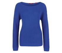 Leichter Grobstrick-Pullover blau