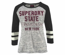 Langarmshirt 'football Applique Top' graumeliert / weinrot / schwarz