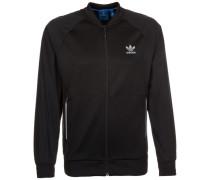 Sport Luxe Knit Track Top Jacke schwarz