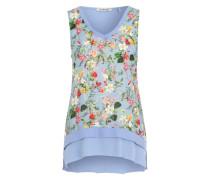 Top mit Blumenprint in Weboptik hellblau / mischfarben