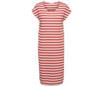 Basic-Kleid feuerrot / weiß