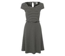 Kleid mit kurzen Ärmeln schwarz / weiß