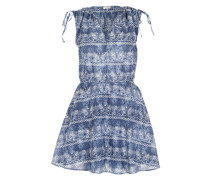Baumwollkleid mit All Over-Print blau