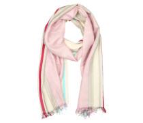 Schal beige / türkis / rosa