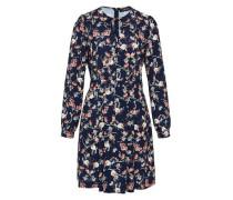 Kleid mit Floral-Print creme / dunkelblau / apricot / rot