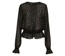 Gemusterte Bluse schwarz / weiß