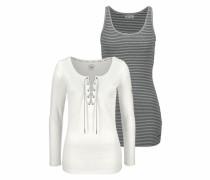 Langarmshirt (Set 2 tlg. mit Top) grau / schwarz / offwhite