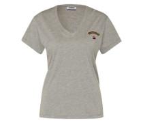 Shirt mit Stickerei und Patch grau