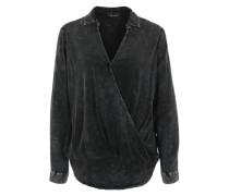 Drapierte Bluse im Acid Wash-Look schwarz